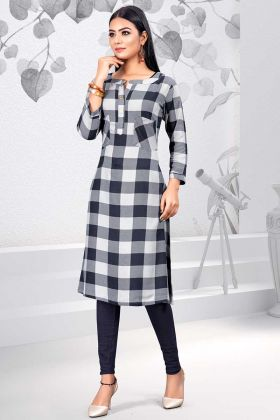 Black and White Color Rayon Kurti With Printed Work