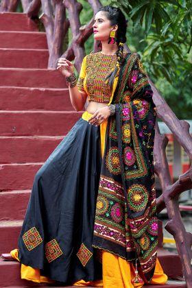 Black and Yellow Soft Cotton Traditional Chaniya Choli