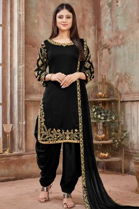 Black Art Silk Patiala Salwar Kameez