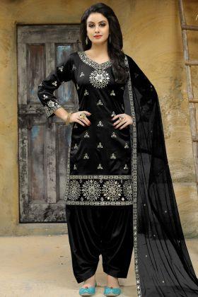 Black Art Silk Patiala Salwar Suit