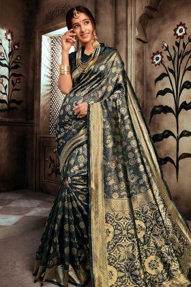 Black Art Silk Saree Online
