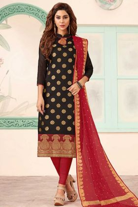 Black Art Silk Straight Salwar Kameez