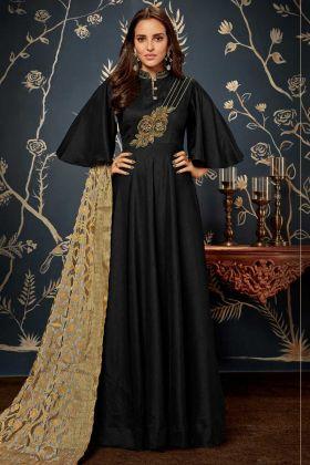 Black Art Silk Wedding Gown Online