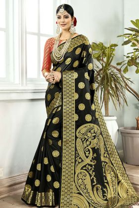 Black Banarasi Art Silk Festive Saree Online