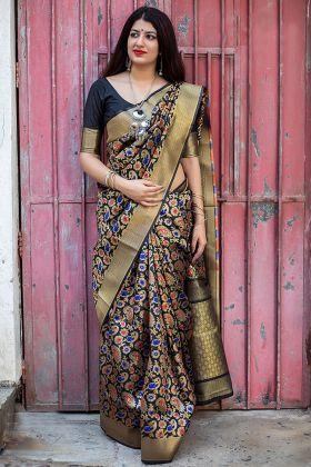 Black Banarasi Silk Designer Saree With Woven Work