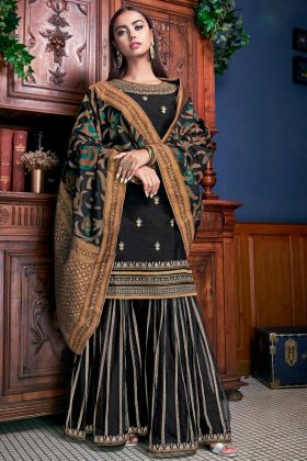 Black Color Art Silk Pakistani Dress With Jacquard Silk Dupatta