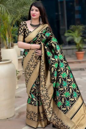 Black Color Art Silk Traditional Saree With Weaving Work