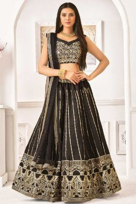 Black Color Banglori Satin Silk Wedding Lehenga Choli