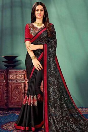 Black Color Chiffon Wedding Saree With Resham Embroidery Work