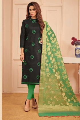 Black Color Cotton Dress Material With Thread Embroidery Work