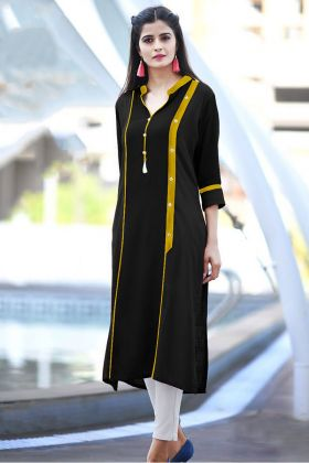 Black Color Cotton Party Wear Kurti With Buttons Work