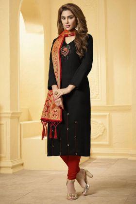 Black Color Cotton Slub Salwar Suit