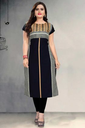 Black Color Crepe Long Kurti With Printed Work