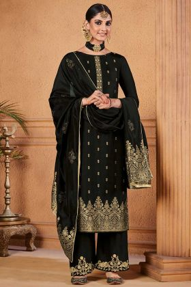 Black Color Dola Jacquard Pakistani Dress With Diamond Work