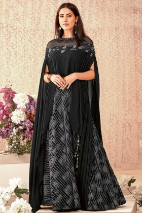 Black Color Fancy Lycra Party Wear Lehenga Choli With Hand Work