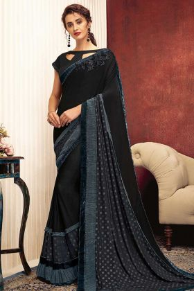 Black Color Fancy Lycra Party Wear Saree