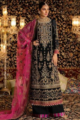 Black Color Faux Georgette Palazzo Salwar Suit With Heavy Embroidery Work