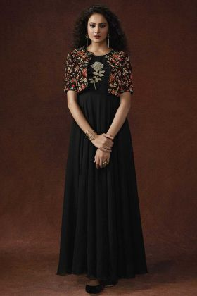 Black Color Georgette Gown With Resham Embroidery Work