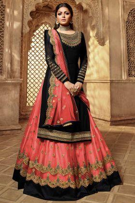 Black Color Georgette Indo Western Salwar Suit With Net Dupatta