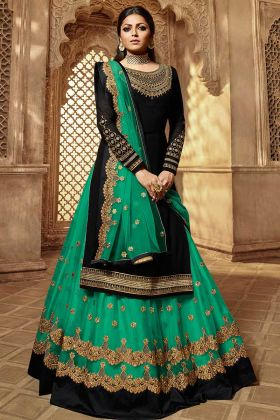 Black Color Georgette Indo Western Suit With Embroidery Work