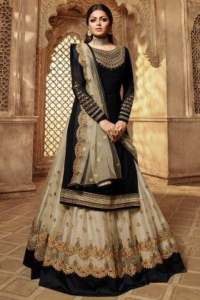 Black Color Georgette Indo Western Suit With Stone Work