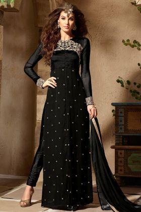 Black Color Georgette Pant Style Salwar Suit With Chiffon Dupatta