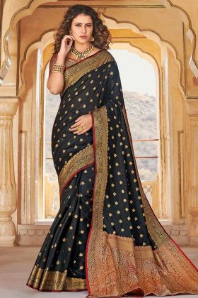 Black Color Handloom Silk Banarasi Saree In Weaving Work