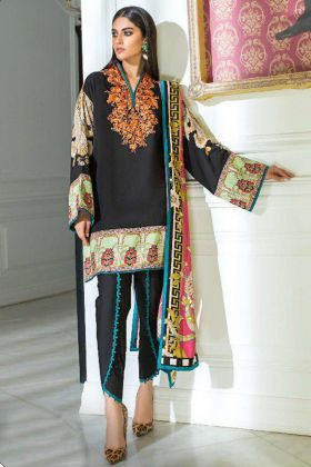 Black Color Heavy Cotton Pakistani Salwar Suit With Embroidery Work