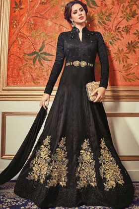 Black Color Heavy Embroidered Tussar Silk Anarkali Suit With Collar