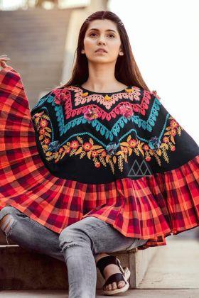 Black Color Khadi Stitched Poncho