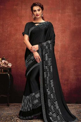 Black Color Lycra Designer Saree With Hand Work