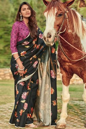 Black Color Manipuri Silk Saree With Printed Work