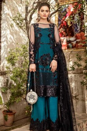 Black Color Net Pakistani Salwar Suit With Embroidery Work