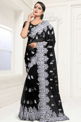 Black Color Net Wedding Saree With Blouse