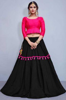 Black Color Plain Cotton Lehenga Choli