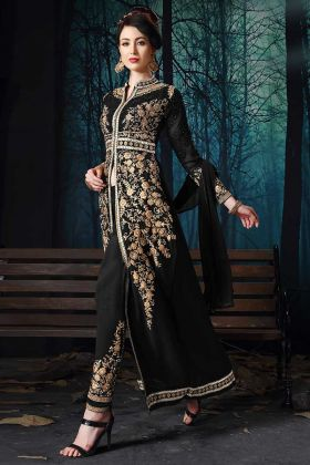 Black Color Pure Faux Georgette Pant Style Salwar Suit With Heavy Zari Embroidery Work