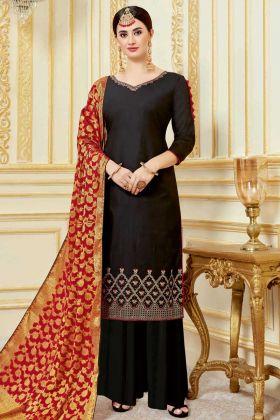 Black Color Pure Jam Satin Palazzo Salwar Suit