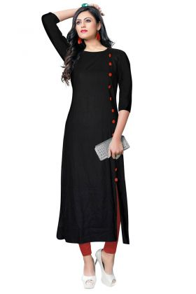 Black Color Rayon Kurti With Buttons Work