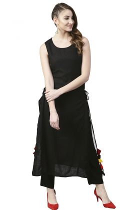 Black Color Rayon Kurti With Tassels Work