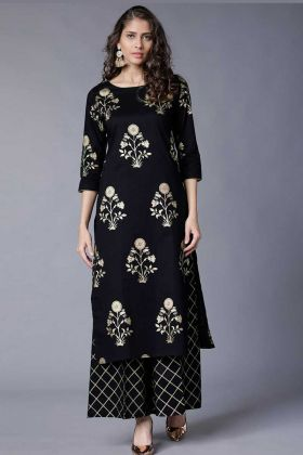 Black Color Rayon Palazzo Kurti Set  With Foil Printed Work