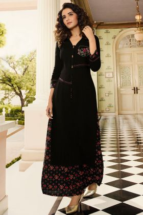 Black Color Rayon Palazzo Kurti Set With Thread Embroidery Work