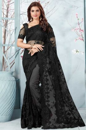 Black Color Resham Embroidery Work Net Designer Saree