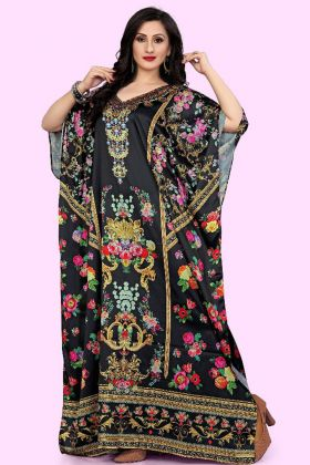 Black Color Satin Kaftan Kurti Design