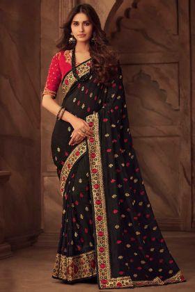 Black Color Silk Designer Saree