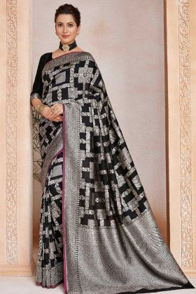 Black Color Soft Art Silk Wedding Saree