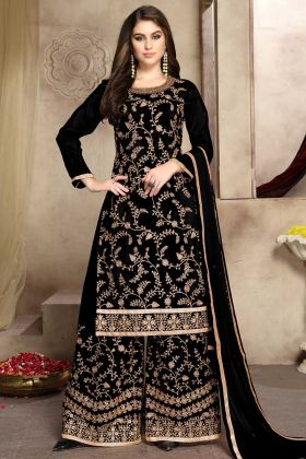 Black Color Soft Silk Palazzo Salwar Suit With Zari Embroidery Work