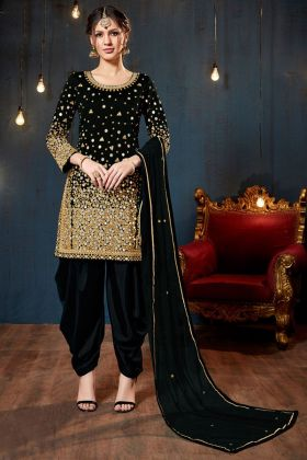 Black Color Tafeta Silk Patiala Salwar Suit