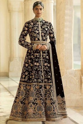 Black Color Velvet Anarkali Suit With Embroidery Work