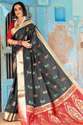 Black Color Weaving Work Cotton Silk Saree