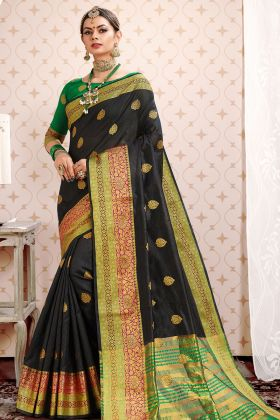 Black Cotton Silk Wedding Saree